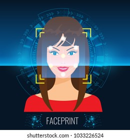 Vector Face Recognition or Faceprint technology scanning woman's face with Abstract Tech Background.