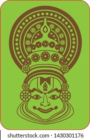 Vector face view of traditional Yakshagana theatre form of Karnataka