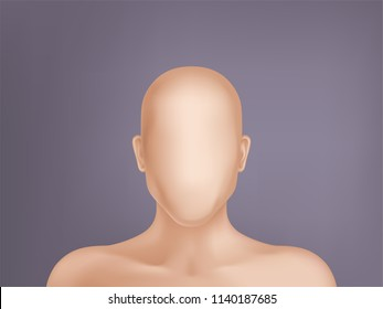 Vector faceless human model, blank dummy, part of male or female body isolated on background. Mockup with man or woman head without face to create own profile, template for plastic surgery cosmetology