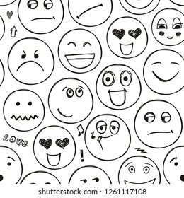 Vector faces seamless pattern. Emotions, doodle, freehand drawing background. Black and white
