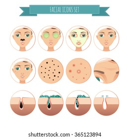 Vector facial icons set in a flat style of acne, facial treatment, facial mask for your design
