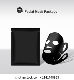 Vector facial mask and package with black texture