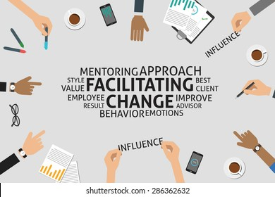 vector facilitating change concept,template