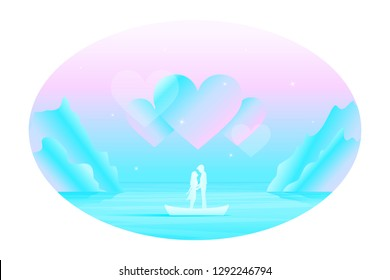 Vector fairy romantic landscape in oval frame with silhouette of kissing couple in love in the boat among the sea under the big abstract hears in the sky.