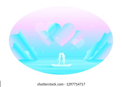 Vector fairy romantic landscape in oval frame with silhouette of kissing lesbian couple in love in the boat among the sea, under the big abstract hears in the sky.