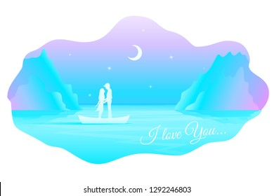 Vector fairy romantic landscape with silhouette of kissing couple in love in the boat among the sea under night starry sky with moon. Text I love You.