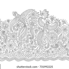 Vector fairy tale flying peacock birds with folk ornaments, thin line flowers, foliage , tree branches. Black and white background. Adults and children coloring book page. Embroidery, t-shirt print