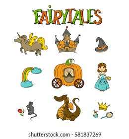 Vector fairy tales hand drawn icon set with princess, dragon, castle, mouse, unicorn, rainbow, magic hat, pumpkin carriage, crown isolated on white background.