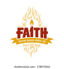 Vector Faith Candle to Flame Holy Spirit Religious Christian Illustration