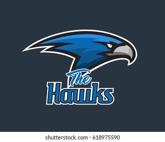 Vector falcon head sports logo illustration. Mascot, T-shirt, sticker, label design.