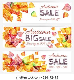 Vector fall sale banners set / illustration with colorful watercolor leaves