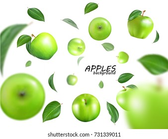 Vector falling green apples isolated on white background. The fruit as a whole. Realistic fallong appls, 3D