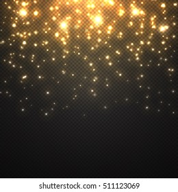 Vector falling of lights isolated on transparent . Christmas shining .Falling glitter light effect . snowfall