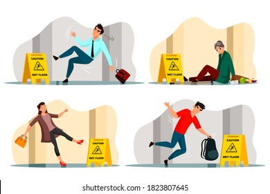 Vector falling people and caution wet floor yellow stop ahead warning sign set. Slipped stumbled inattentive businessman, office worker man, young woman, old mature grandma. Unpleasant accident