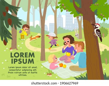 Vector. Family and children walking, having fun, together outdoors, in park on green lawn, having picnic, sitting on blanket, having quality time together. Leisure activities, active recreation