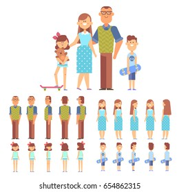Vector family - dad,mom, son and daughter. Front, side, back view animated characters. Cartoon style, flat vector illustration.
