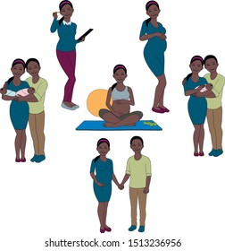 Vector family drawing, happy pregnant woman, children, husband and wife, yoga, happy couple, pregnant business woman at work.