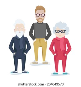 Vector family with elderly grey-haired parents and bearded son in glasses standing with their hands in their pockets facing the viewer