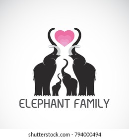 Vector of family elephants and pink heart on white background, Wild Animals, Easy editable layered vector illustration.