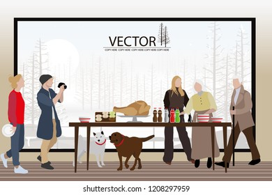 vector family have thank giving party in their house on winter background