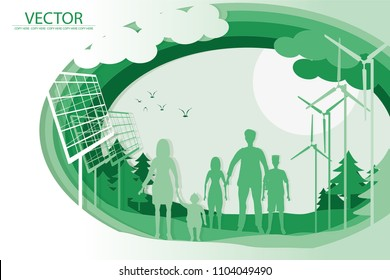 vector family hold hand and stand on ecology background.safe the world.wind turbine.solar cell