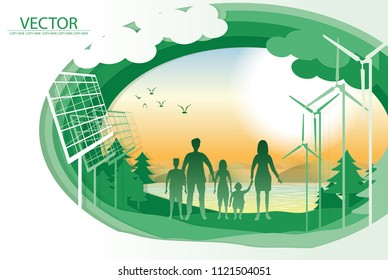 vector family hold hand and stand on sunset background.safe the world.wind turbine.solar cell