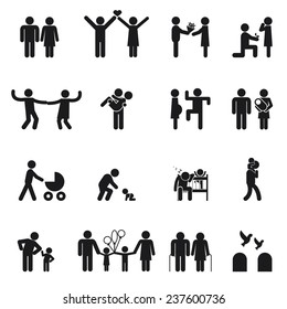 Vector family icons. Set of  Love and family life black and white