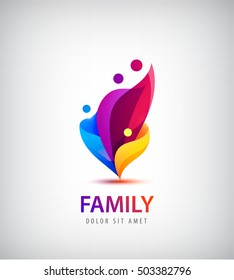 Vector family with kids, 4 people group logo. Corporate vector logo design template Isolated