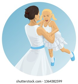 Vector Family. Mother And Daughter Have Fun. Happy family together. Woman Holding Girl In Her Hands