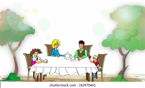 vector family on a picnic table drinking tea, eating apples