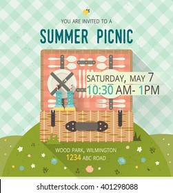 Vector family picnic glade card. Food and pastime illustration. Flat. Barbecue items. Design of invitation card with spring nature. Creative banner with picnic basket. Tartan tablecloth pattern.