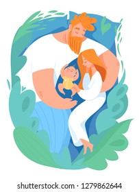 Vector family poster with sleeping mother, father and baby