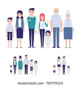 Vector family set. Big family together info graphics elements. Flat cartoon design illustration.