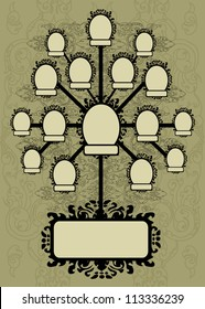 Vector family tree design with frames and autumn leafs. Place for text
