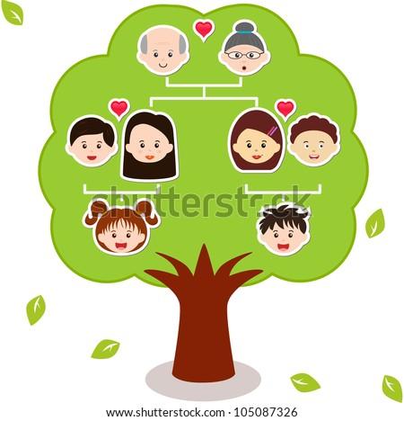 vector family tree diagram members on のベクター画像素材