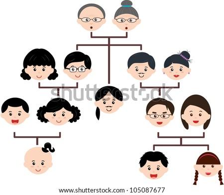 vector family tree diagram members set のベクター画像素材
