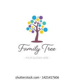 Vector family tree logo template design nature symbol