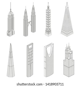 Vector famous skyscrapers. Isometric line art icons