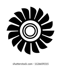 vector fan engine illustration isolated. jet turbine power silhouette - high technology