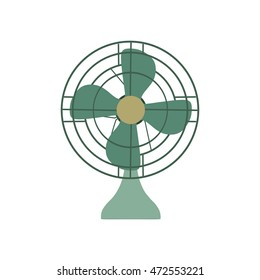 Vector Fan green electric front view design style. Circle symbol blower ceiling graphic element ventilation blade icon. Wind airflow silhouette air sign. Portable modern illustration retro vintage hot