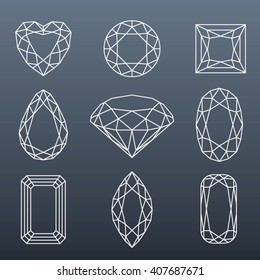 Vector fancy diamond cut shapes - editable strokes