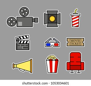 Vector fancy illustration collection set of Cinema icon.
