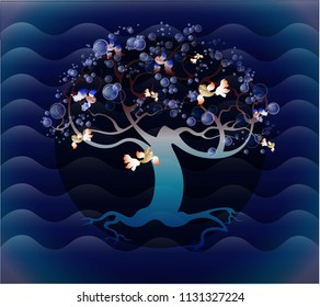 Vector fantasy book illustration mysterious magic sea background fairy tale gradient bubbles card design tree silhouette fish sea life world cloth print patch wallpaper