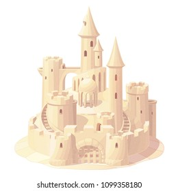 vector fantasy castle sand, sandcastle fort, play toy fortress. Vacation sculpture, holiday construction. Summer sea ocean beach graphic. Maritime illustration isolated background. Cartoon color 02