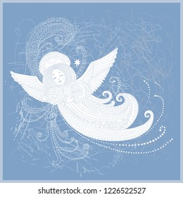 Vector fantasy Christmas angel with Magic star. New Year greeting card, Adults  and children coloring book page, T-shirt print . Light blue gray contour hand drawn contour line art on a grey backgroun