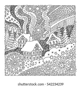 Vector fantasy landscape. Fairy tale old medieval town, house, fir trees.  Hand drawn sketch snowflakes. T-shirt print. Coloring book page for adults and children. Black and white. Christmas card