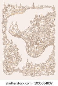Vector fantasy urban landscape with small medieval European buildings. Fairy tale old town street, houses. Hand drawn doodle sketch. Tee shirt brown and beige print, adults coloring book page