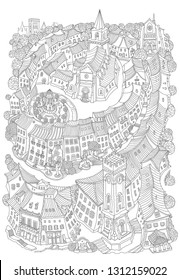 Vector fantasy urban landscape, small medieval European buildings. Fairy tale old town street, houses. Hand drawn doodle sketch. Tee shirt black and white print, brochure cover, adults coloring book