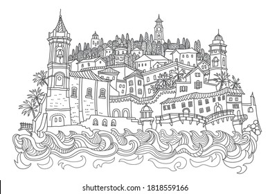 Vector fantasy urban Mediterranean landscape with sea waves, medieval European old town castle, fairytale buildings.Hand drawn doodle sketch. Tee shirt print, brochure cover, adults coloring book page