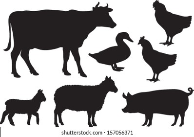 Vector farm animal silhouettes including cow, sheep, lamb, pig, duck and chickens.